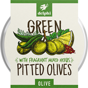 Delphi - Green Pitted Olives with Herbs (1 x 160g)
