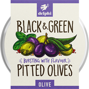 Delphi - Black & Green Pitted Olives (1 x 160g)